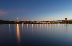 Moon Setting Over Västerbron (stevebfotos) Tags: longexposure water night sweden stockholm bluehour