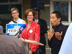 (Lynn Friedman) Tags: theaselby yesona politics muni publictransportation 94117 lynnfriedman sanfrancisco prop candidate politician mother business activist progressive ccsf communitycollege board 2014 thea selby campaign