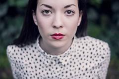 (Esther'90) Tags: autumn light red portrait woman green fall face garden natural lips emotive