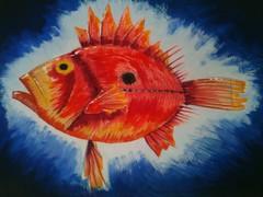 Fish (evhh) Tags: blue red sea orange fish yellow painting mixed media drawing profile schilderij fantasy vis imaginationary