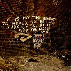 time beneath (PDKImages) Tags: street city england urban streetart brick art painting manchester graffiti different publicart walls imagery