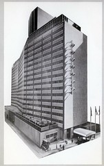 Summit of New York NY (Edge and corner wear) Tags: modern illustration vintage hotel pc drawing postcard modernism architectural architect chrome summit morris loews rendering midcentury lapidus