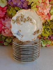 Antique Limoges Porcelain Plates ~ White Roses ~ Gold Gilt (Donna's Collectables) Tags: antique limoges porcelain plates roses gold thanksgiving christmas