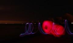 red cones and skyline (epicDi) Tags: portdalhousie lightpainting skyline stcatharines lakeontario
