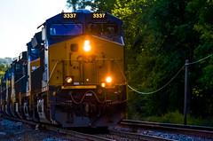 3337; coming on fast at sunrise..... (tomk630) Tags: train fast sudden corner lights sunrise horn