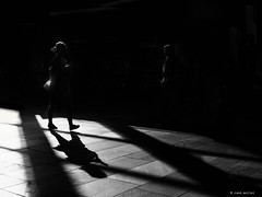 shadow on the floor! (Ren Mollet) Tags: basel blackandwhite bw monchrom street streetphotography shadow silhouette renmollet sbb woman walking station streetphotographie schwarzweiss zuiko