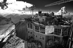 Mnchner Haus, Seilbahn, and Beer Garden (decineper) Tags: mountain climbing hiking hut zugspitze hllental hollental klettersteig viaferrata alps germany mnchnerhaus seilbahn beergarden cable car