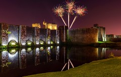 Caerphilly Castle Fireworks (technodean2000) Tags: caerphilly castle fireworks south wales uk night ps lightroom
