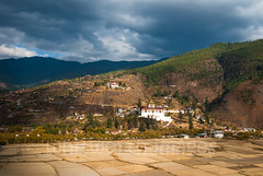 Paro Dzong (whitworth images) Tags: stone landscape winter ringpongdzong large himalaya himalayas rural bhutan scene buddhism fortress travel fields fallow square asia dzong hills white religious monastery valley building buddhist secular huge scenic administrative architecture traditional brown village government parodzong paro parodzongkhag