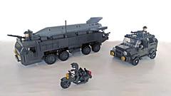 Missile transport with escort (John Lamarck) Tags: lego sluban mega bloks bricks missile truck jeeo military war