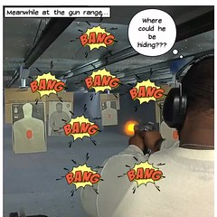 Shooting it out (stanbstanb) Tags: lomics comics action hiding meanwhile range shooting where