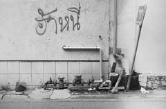 Thong Lo - Bangkok (35mm) (jcbkk1956) Tags: yashica yashinon rangefinder analog 35mm film ilfordpan100 mono blackwhite street streetfurniture post thonglo bangkok thailand graffiti worldtrekker