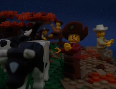 Cow Tipping (gid617) Tags: lego cowboy cow tipping dark grass tree