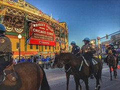 #Repost @dgiamba ・・・ Chicago's finest 👮🐴 and Chicago's best 🐻⚾️ . . . . . #latergram #letsgo #chicago #cubs #flythew #mlb (southportcorridorchicago) Tags: instagramapp square squareformat iphoneography uploaded:by=instagram cubs southportcorridor lakeview chicagocubs worldseries chicago wrigleyville southport wrigley wrigleyfield fall