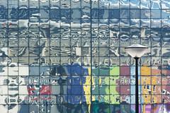 Street lamp and reflections (Jan van der Wolf) Tags: map15172v lamp streetlamp streetlight straatlantaarn netwerk lines interplayoflines playoflines lijnen lijnenspel reflection reflectie reflections spiegeling amsterdam colors colours kleuren composition compositie urban
