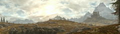 Crisp Morn (D u b l) Tags: bethesda pano panorama the elder scrolls v skyrim special edition se tesv tamriel video game studios outdoor landscape mountains sunset trees