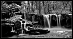 Long's Falls - Monochrome (J Michael Hamon) Tags: falls waterfall longexposure blackandwhite monochrome achromatic nature outdoor creek river stream water waterscape landscape scenery hamon nikon d3200 nikkor 1855mm bw indiana middlefork cliftycreek bartholomewcounty rocks geology genevadolomite waldronshale photoborder