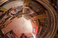 255/366 - Lid (Spannarama) Tags: 366 september lid panlid shiny domed reflections convex bookshelves cds books selfie diningroom home