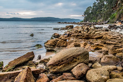 Daybreak waterscape on an overcast day at Umina Point (Merrillie) Tags: daybreak uminabeach sand landscape nature australia mountains nswcentralcoast newsouthwales sea nsw uminapoint beach ocean centralcoastnsw umina waves photography waterscape outdoors seascape water centralcoast sunrise rocks diagonal