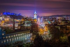 Edinburgh lights up blue for St Andrews Day (Uillihans Dias) Tags: green edinburgh edinburghcastle cityofedinburgh cityscape scotland nightexposure nightsky nikond7200 nikon nikond7100 nikon1755mmf28gafsdxifedlens hdr highdynamicrange