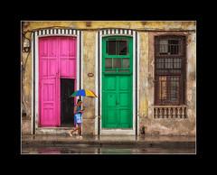 Havana street. (tkimages2011) Tags: doors doorway havana habana cuba green pink colour arty umbrella person wet window pavement reflection rain wroughtiron 569 colourful