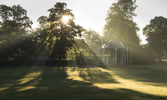 Sunbeams over the bandstand (Mike Ashton) Tags: park morning bridge light mist tree dana severn shrewsbury bandstand quarry beams