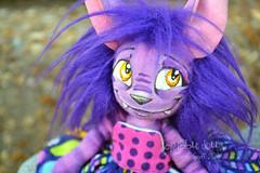 Chessa the Cheshire (Scribble Dolls) Tags: cute art cat toy happy stuffed furry doll purple cheshire sweet handmade ooak critter small plush softie fabric tiny stuffedanimal handpainted plushie handsewn cloth wonderland creature sewn scribbledolls