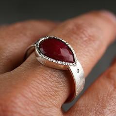 3xR 17 sterling silver, ruby and champagne diamond (hartleystudio) Tags: set champagne diamond ruby bezel etsymetalteam hartleystudio etsymetalweddings alternativeengagementring hammeredbezel