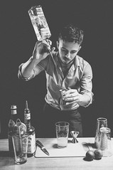 This is what I do. (Jason Ennis) Tags: portrait bw self work environmental alcohol workplace cocktails rim gin softbox bartender mixology strobes strobist vsco