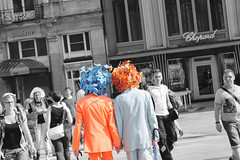 You give me butterflies (Oceans of Lilim) Tags: street blue party orange white black streets colour love butterfly germany costume holding hands couple colours butterflies cologne kln fancy instant gaypride