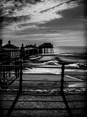 Pier shadows. (CWhatPhotos) Tags: pictures camera light shadow cloud sun white holiday black beach monochrome silhouette clouds digital fence that lens four photography mono pier seaside sand day foto with view image artistic pics north picture silhouettes july pic olympus images lancashire resort have photographs photograph fotos micro promenade which blackpool silhouetted casting fit contain 43 thirds lancs 2014 em10 mft esystem cwhatphotos olympusem10