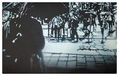 'Raining day in NYC' & 'Regentag in Hamburg' (Stencil, Sprühlack auf Papier, ca. 19x28 cm, 2012-2014) (R. Scheer) Tags: nyc newyorkcity stencils ny newyork art coffee shop bar hospital shopping cafe artwork stencil kunst kultur hamburg kaffee secondhand stencilart regen bilder altona wetter ausstellung ottensen zeigen kunstwerk kleidung secondhandshop regenwetter klamotten unwetter kunstausstellung labro altonaaltstadt hamburgaltona kunstbilder ausstellen hospitalstrase kleidungsgeschäft kultureinrichtung