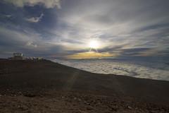 observation (scojones) Tags: sunset clouds volcano wideangle maui lensflare haleakalā haleakalanationalpark 14mm samyang rokinon sonya7 cloudsstormssunsetssunrises haleakalāobservatory
