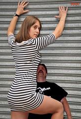 Trapped (iggy62pop2) Tags: woman man sexy trapped funny legs babe tiny upskirt miniskirt milf giantess tallwoman heightcomparison shrinkingman minigiantess