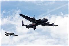 "Canadian Lancaster ""Vera"" with a Hurricane escort over Detling. (Smudge 9000) Tags: summer england unitedkingdom air canadian lancaster bomber vera reenactment raf avro 2014 vra detling bbmf militaryodyssey maidstonedistrict"