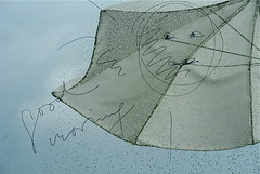 self motivation (me*voil) Tags: home window wet glass rain umbrella july raindrops onblue