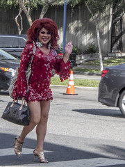 Lovely Drag Queen on Santa Monica Boulevard in West Hollywood (DRUified) Tags: california usa dragqueen westhollywood rebeccadruphotography