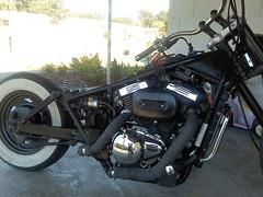 1028131123a (DANGER!1) Tags: 2001 bike danger drag chopper bars ride helmet pipes tires moto motorcycle suzuki custom build grip loud exhaust lowbrow struts dunlop bobber ledsled 800cc vz800 bridgestome