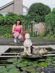 Manneken pis (Paula Satijn) Tags: pink sexy girl garden pond tgirl transvestite satin gurl nightdress chemise nightie