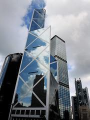 Central HongKong   (Mel@photo break) Tags: china city blue sky urban cloud reflection building weather modern hongkong mirror fine central mel melinda  boc  chanmelmel bandofchina melindachan