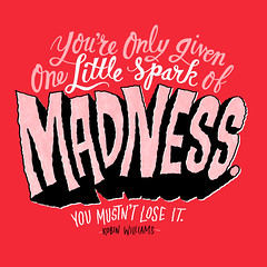 1689-20140812-SparkofMadness (Chris Piascik) Tags: illustration typography quote type robinwilliams handlettering dailydrawings chrispiascik riprobinwilliams