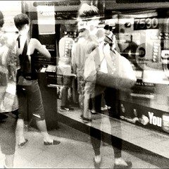 people getting on and off the train and people buying Metro cards. (Manhattan Girl) Tags: nyc subway square doubleexposure gritty grainy bwphotography urbanlife iphoneography photoblender shellykayphotography
