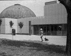 Lomo 135VS - Brno Observatory and Planetarium and Little Girl with Doggie (Kojotisko) Tags: street city people blackandwhite bw streets person lomo czech streetphotography brno cc creativecommons vintagecamera czechrepublic streetphoto persons lomo135bc  lomo135vs agfaphotoapxpan100 agfaphotoapxpan 135