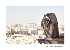 Paris (laura passavanti) Tags: above old city travel roof urban sculpture paris france building tower tourism church monument monster statue stone seine skyline architecture religious high scary catholic cityscape looking view cathedral balcony famous gothic dramatic evil landmark eiffel medieval notredame gargoyle demon devil notre dame chimera mythical champslyses mythological chimere
