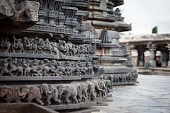 Animated faade (Scalino) Tags: india karnataka tourism belur halebid halebeed halebeedu hoysala temple carved sculpture hindu elephants elephant dark