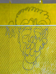 Identikit (Steve Taylor (Photography)) Tags: identikit face art digital graffiti streetart building construction fence chainlink yellow monocolor monocolour fun weird odd strange crazy metal wood plywood man newzealand nz southisland canterbury christchurch cbd city shape surreal