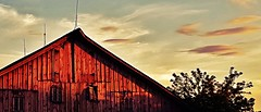 the slow fade... (BillsExplorations) Tags: slow fade dusk evening sunset weathered window barn old decay sky clouds