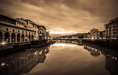 Arno al mattino, dal Ponte Vecchio (binoguzzi) Tags: arno firenze florence river pontevecchio ponte citt toscana fiume fujifilm fuji fujixt10 fujilover fujifilmxseries fujix xt10 xf14 fujixf14 sepia lightroom wonderful light morning alba sunrise