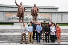 Secret Compass team by the huge Bronze statues of the former President's, Kim Il Sung and Kim Jung Il in Pyongyang, North Korea (DPRK) (tommcshanephotography) Tags: adventure asia communism dprk democraticpeoplesrepublicofkorea expedition exploring kimilsung kimjungil kimjungun northkorea pyongyang revolution secretcompass travel trekking