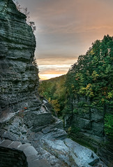Treman State Park - Gorge Sunrise (agladshtein) Tags: colors sony2470mmf28g cny landscape season nature newyork fall ny trees centralnewyork tompkinscounty tremanstatepark waterfall gorges forest scenic sonya7r2 outdoors luciferfalls traveldestination beautyinnature hiking ithaca sunrise dawn clouds sky